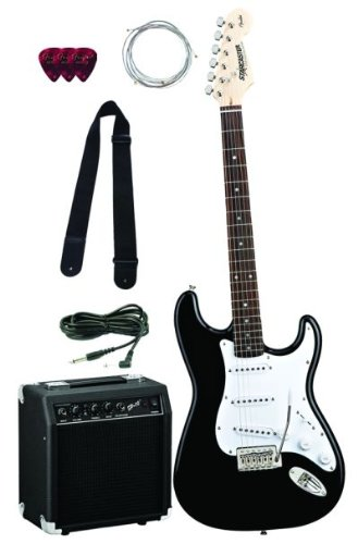 Fender Starcaster Strat Electric Guitar Starter Pack with Amplifier, Cable, Strap, Strings, and Picks - Black
