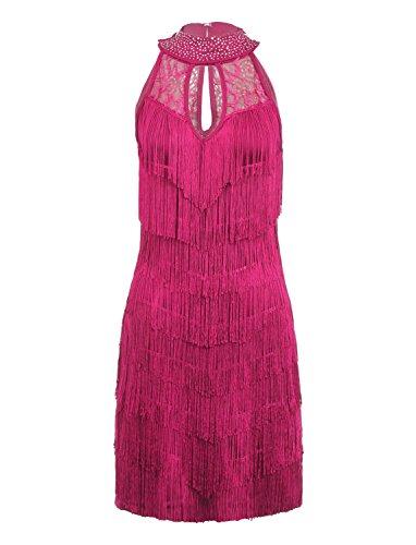 JustinCostume Women's 1920s Fringed Latin Dance Costume Dress, XS, Rose (Latin Dancing Costume Patterns)