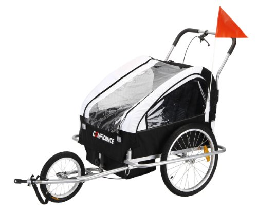 Confidence 2-In1 Double Baby/Child Bike Trailer / Jogger / Stroller White front-24833