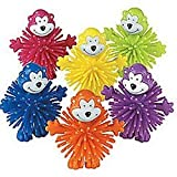 Pack of 6 - Rubber Neon Monkey Porcupine Characters- Party Loot Bag Stocking Filler