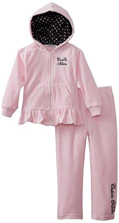 Calvin Klein Little Girls' Velour Hoodie Set, Pink, 4T
