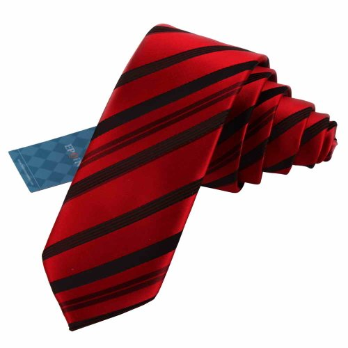 Eae1023 Christmas Day Presents Red Skinny Mens Silk Tie Style Quilt Stripes Excellent Gift For Husband By Epoint
