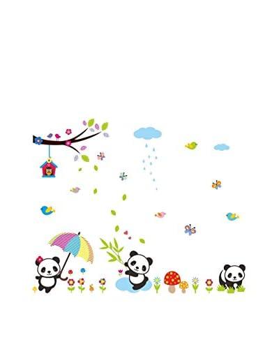 Ambiance Sticker Muurtattoo Babies Panda Playing Under The Rain
