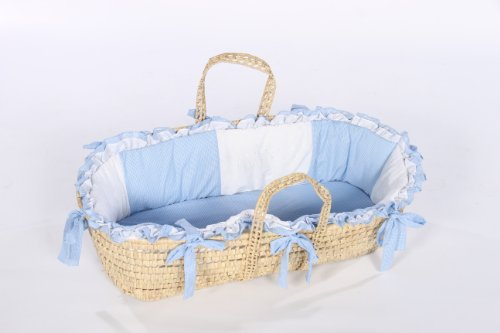 Baby Doll Bedding Gingham Moses Basket, Blue