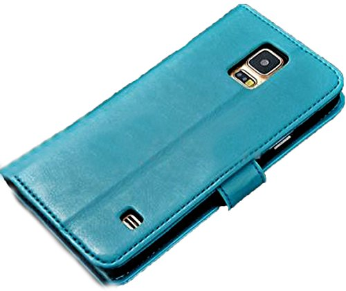 Mylife (Tm) Deep Celeste Blue - Classic Design - Koskin Faux Leather (Card, Cash And Id Holder + Magnetic Detachable Closing + Hand Strap) Slim Wallet For New Galaxy S5 (5G) Smartphone By Samsung (External Rugged Synthetic Leather With Magnetic Clip + Int