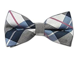 100% Woven Silk Serene Blue Monster Madras Plaid Self-Tie Bow Tie