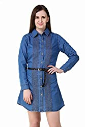 Big Pout women Front Enbroidered button closure denim dress with belt Dress - L Size ( Blue )