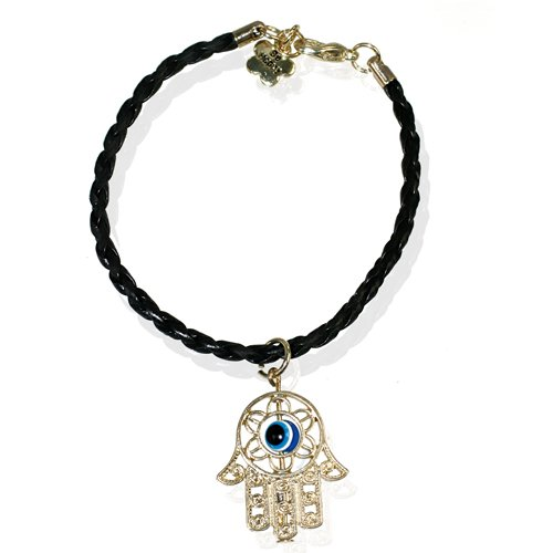Fashion Cord Bracelet with Gold Plated Hamsa