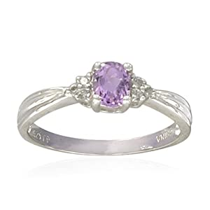 Sterling Silver 4X5mm Oval-Shaped Pink Amethyst Ring from Amazon Curated Collection