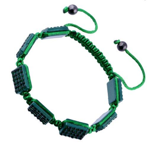 Kadima Crystal Square Pave Beads Square Shamballa Adjustable Bracelet,Unisex,10x14mm Resin Square Beads With Emerald Gems,Color String