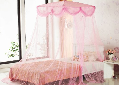 Pink Four Corner Square Princess Bed Canopy By Sid by Sid Trading & Pink Four Corner Square Princess Bed Canopy By Sid by Sid - Import ...