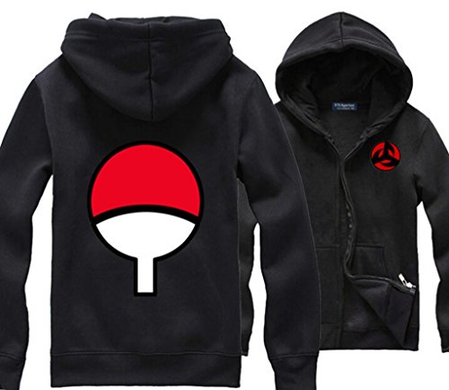 MINID Naruto Uchiha sasuke skunk kakashi Syaringan hoody zipper hooded fleece (KKL82)- Medium black