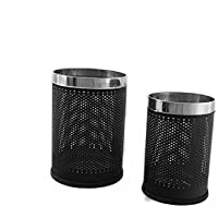 King International Stainless Steel Open Dustbin Pair (8'' X12'') & (7'' X 10'') Set Of 2 Pcs