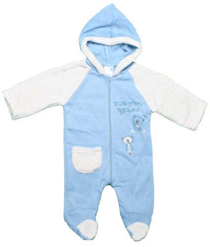 CONEY ISLE Baby Boys 3-9M Blue/Cream Fuzzy Fleece