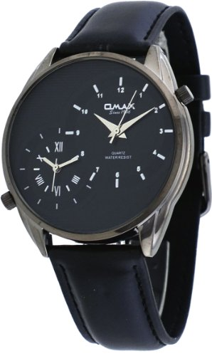 Omax #S002K221 Men'S Leather Band Gunmetal Dual Time Zone Watch