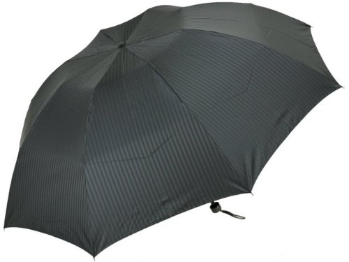 日本製ストライプジャガード超大判紳士用三段折りたたみ雨傘(ブラック)