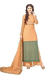 YOUR CHOICE Georgette Pink & Grey Embroideried Women's Straight Suit FLD1008