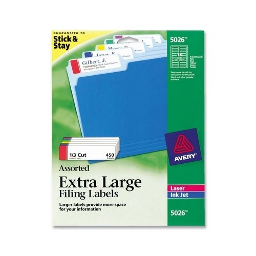 Filing Labels, Laser/Inkjet Printable, 1/3 Cut Tab, Assorted Colors, 450/Pack AVE5026 kitave82202unv20630 value kit avery allstate style legal side tab divider ave82202 and universal perforated edge writing pad unv20630