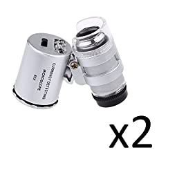 60X mini illuminated Jeweler LED UV Lens Loupe with Kare and Kind retail package (2pcs 60X)