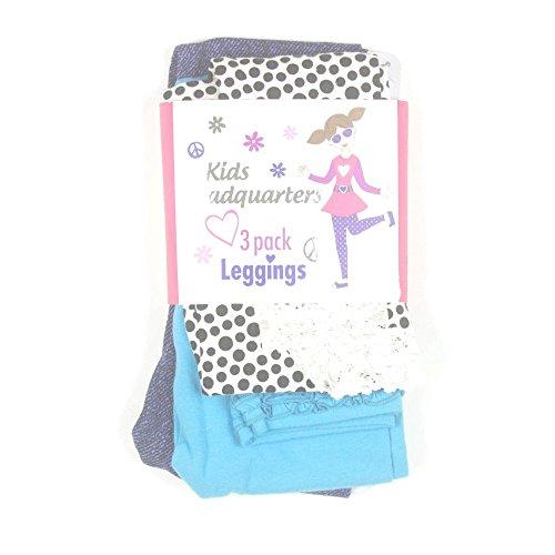 Kids Headquarters Girls 3-Pair Leggings 5 Denim/Teal/Dot front-724177