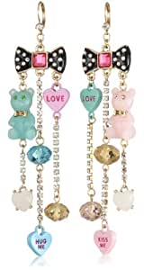 "Betsey Johnson ""Candy Land"" Bow and Candy Charm Linear Earrings"