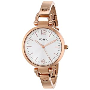 Fossil Women's ES3110 Georgia Three Hand Stainless Steel Watch - Rose Gold-Tone