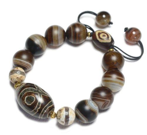 Evil Eyes Protective Buddhist Dzi 3 Evil Eyes Amulet Bracelet – Fortune Feng Shui Jewelry