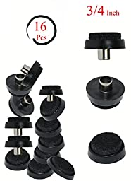 ¾\'\' Black Nail-on Felt Pads - Firm Hold - Prevent Scratches on Hardwood, Ceramic and Linoleum Floors - Wood Floor Protector - Easy to Install (16 Pieces)