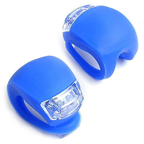 E-Prance New 2Pcs/Set Led Clip-On Silicon Band Bicycle Lights 3 Flashing Modes ,Blue
