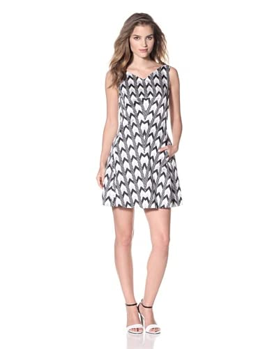 Rachel Roy Women's Mod Diamond Print Tulip Dress  [Black Multi]