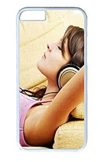 buy Diy Iphone 6 Case, Cell Phone Case For Apple Iphone 6, Headphones Girl For Fit For Apple Iphone 6, Hard Pc White Bumper Screen Protector For Apple Iphone 6 [Shock-Dispersion] [Slim Fit]