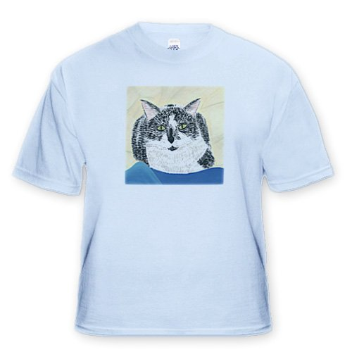 Tuxedo Cat Painting - Youth Light-Blue-T-Shirt Large(14-16)
