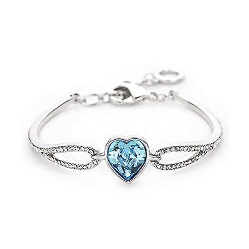 Purple Horse Romantic Cordate With Blue Swarovski Element Crystal Bracelet (16055)