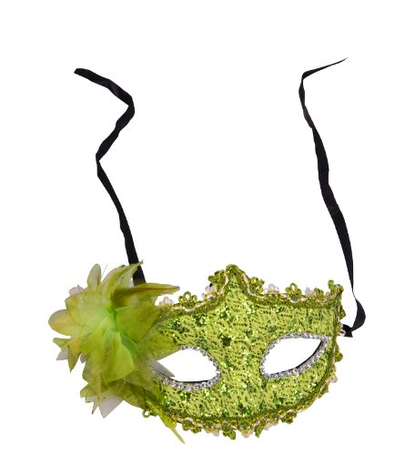Lace Covered Rhinestone Venetian Masquerade Feather Halloween Mask, Green