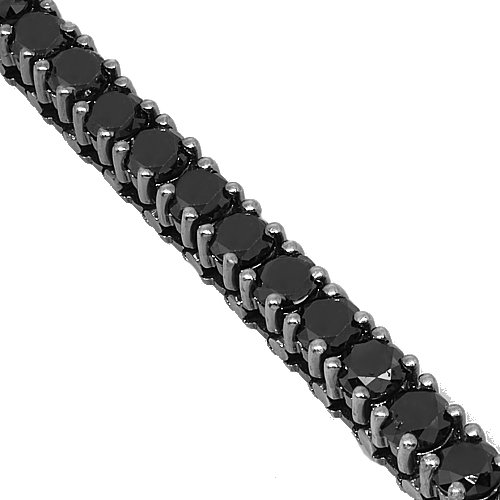 10K Gold Black Rhodium Mens Diamond Tennis Bracelet