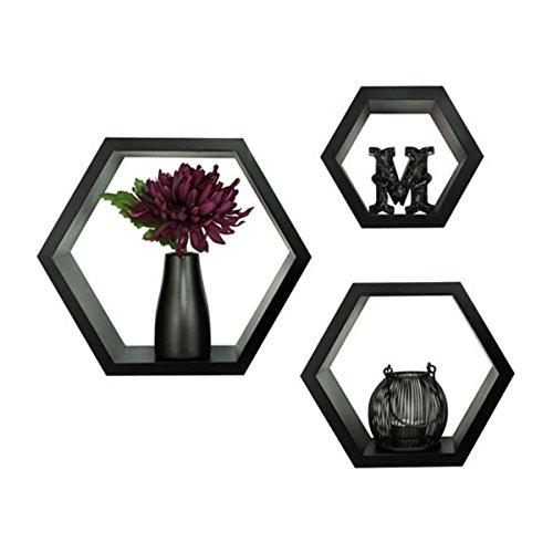 Home Blues Wall Mount Shelves Black Bee Hive Shape Set of 3 Hexagon Wall Shelves