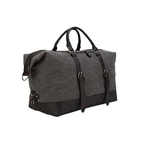 Jam_closet Oversized Leather Canvas Duffel Tote Weekender Travel Shoulder Handbag Gift Idea