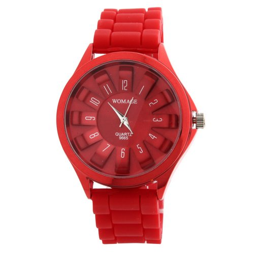 Womage Silicone Rubber Band Quartz Sports Unisex Wrist Watch Red