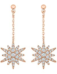 Graykart Rose Gold Plated American Diamond Zicrons Copper Earrings For Women