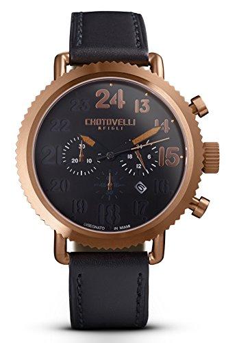 Vintage-Pilot-Watch-Mens-Steel-Black-Leather-Band-Chronograph-Display-Chotovelli-7200-14