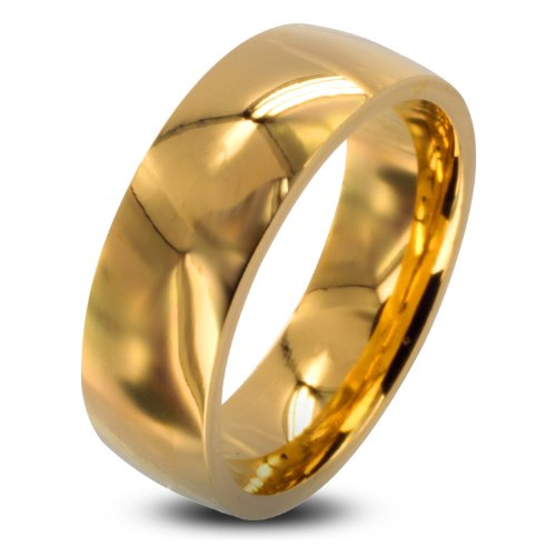 316L Stainless Steel Gold IP 8mm Wide Glossy Mirror Polished Traditional Wedding Band Ring - Size 11