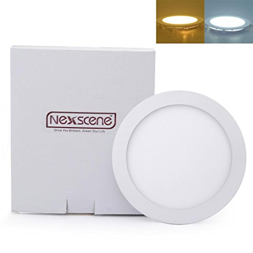 Nexscene Dimmable 15W 8 Inch Ultra Thin Anti-Fogging Round Ceiling Panel Led Recessed Lighting Trim Downlight (Cool White)
