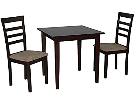 Simple Living Havana 3-piece Espresso Brown Wood Dining Set Small Kitchen Table and Chairs for a Perfect Breakfast on Patio in Dining Room or Kitchen Nook
