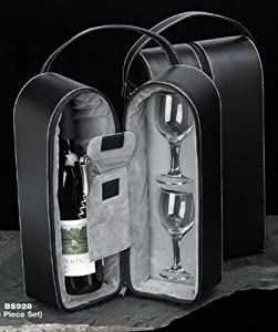 Black Leather Wine Carrier Caddy Bag w/ Two Glasses,Stopper/Opener -Nice Bar Set