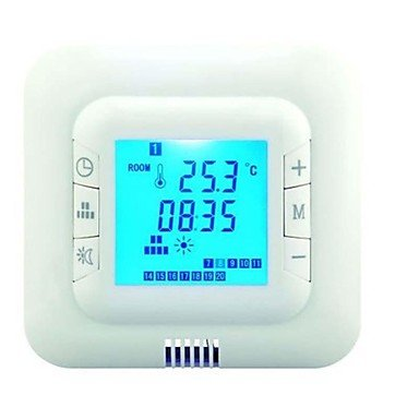 Lcd Screen Digital Programmable Underfloor Heating Thermostat Room Temperature Controller Max 16A Ac110V-220V , Blue