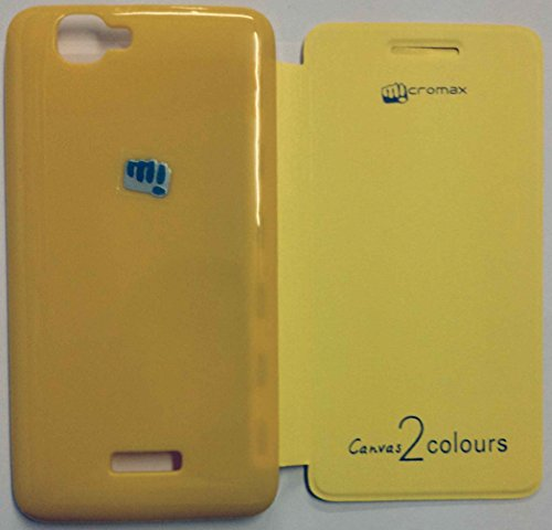 MACC Premium Flip Cover For Micromax A120 Canvas 2 (Yellow)