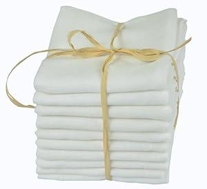 Babymajawelt Lot de 10 langes pour bébé lavables à 90°C Blanc 80 x 80 cm