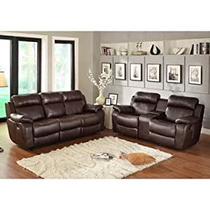 Homelegance Marille 2 Piece Reclining Living Room Set In Brown Leather Kitchen Dining