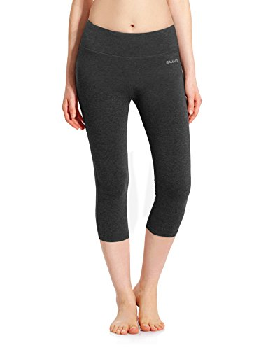 Baleaf Women's Yoga Capri Legging Inner Pocket Non See-through Charcoal Gray Size S