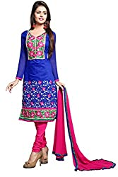 R K Exports Chiffon Embroidered Semi-stitched Salwar Suit Dupatta Material
